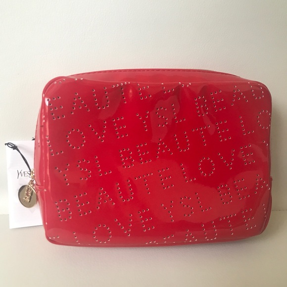 autumn shoes best deals on provide large selection of YSL beaute Red patent Makeup clutch bag